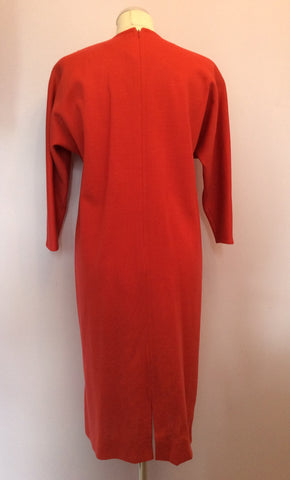 Vintage Jaeger Coral Red Wool Dress Size 10 - Whispers Dress Agency - Womens Vintage - 3