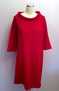 Spanish Designer Cortefiel Red Knit Shift Dress Size L - Whispers Dress Agency - Sold - 1