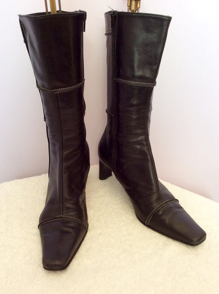 Lorbac Black Leather Calf Length Boots Size 5/38 - Whispers Dress Agency - Sold - 1