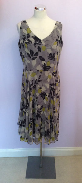 HOBBS GREY FLORAL PRINT SILK DRESS SIZE 14 - Whispers Dress Agency - Womens Dresses - 1