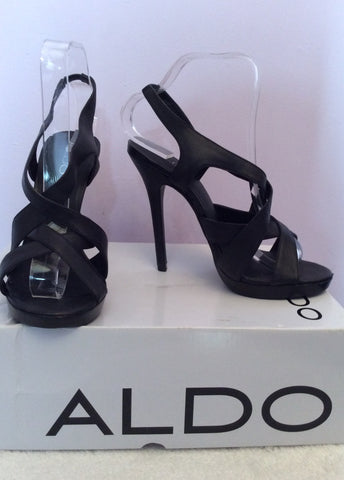 Aldo Latasha Black Leather Strappy Heel Sandals Size 5/38 - Whispers Dress Agency - Womens Sandals - 1