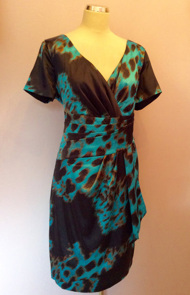 Brand New Michaela Lewis Turqouise & Black Pencil Dress Size 18 - Whispers Dress Agency - Sold - 1