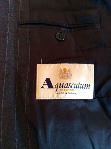 Aquascutum Dark Grey Pinstripe Wool Suit Jacket Size 44R - Whispers Dress Agency - Mens Suits & Tailoring - 4