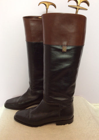Bally Black & Brown All Leather Knee High Boots Size 3.5/36 - Whispers Dress Agency - Womens Boots - 3