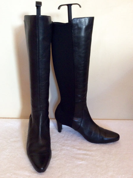 Smart Black Leather & Stretch Fabric Boots Size 5.5/38.5 - Whispers Dress Agency - Sold - 1