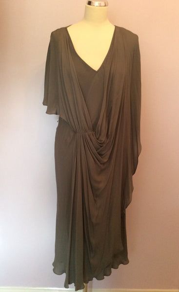 Amanda Wakeley Dark Grey Silk Grecian Style Dress Size 16 - Whispers Dress Agency - Sold - 1
