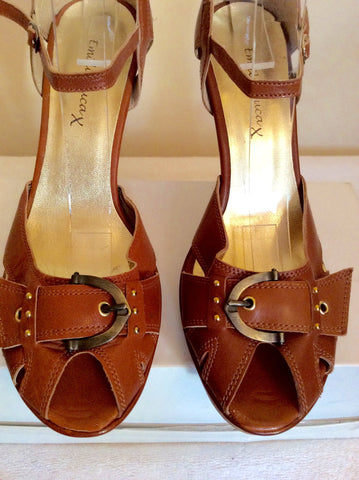 Brand New Emilio Lucax Tan Brown Leather Peeptoe Sandals Size 7/40 - Whispers Dress Agency - Womens Sandals - 3