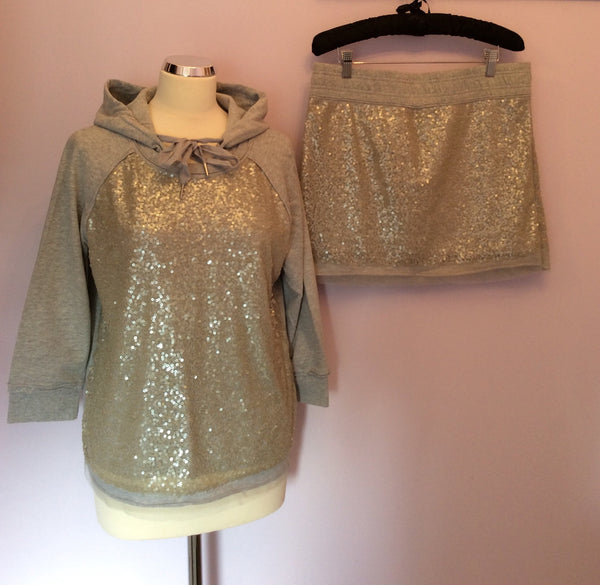Brand New Juicy Couture Light Grey Velour Hooded Top & Mini Skirt Size L - Whispers Dress Agency - Sold - 1