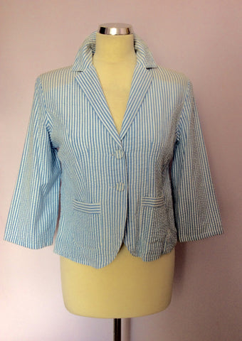 Brand New Laura Ashley Blue & White Stripe Cotton Jacket Size 10 - Whispers Dress Agency - Womens Suits & Tailoring - 1