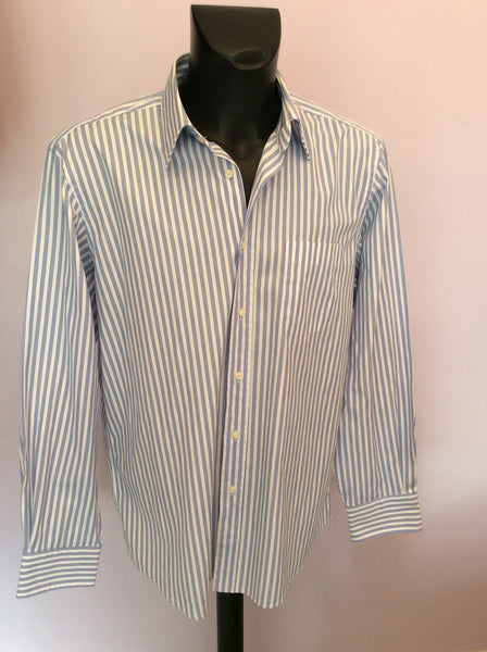 "Hugo Boss 'Elton' Blue & White Stripe Cotton Shirt Size 17"" - Whispers Dress Agency - Mens Formal Shirts - 1"