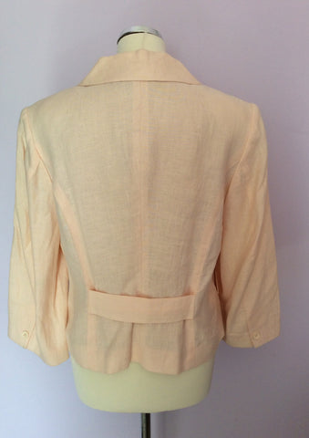 Betty Jackson Pale Peach Linen Jacket Size 14 - Whispers Dress Agency - Womens Coats & Jackets - 2