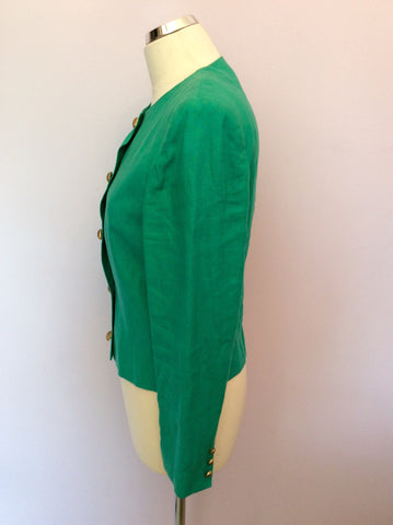 Vintage Jaeger Green Linen Box Jacket Size 10 - Whispers Dress Agency - Womens Vintage - 2