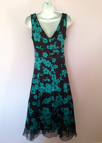 Hobbs Black & Emerald Green Floral Print Silk Dress Size 8 - Whispers Dress Agency - Womens Special Occasion - 2