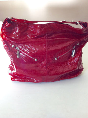 Brand New Jaeger Red Patent Leather Large Shoulder Bag - Whispers Dress Agency - Sold - 2