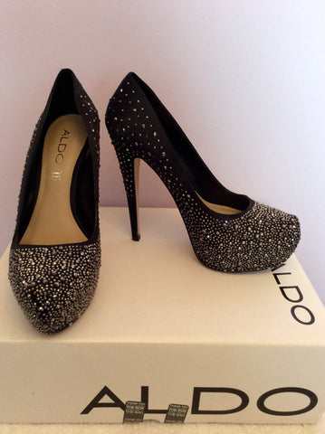 Aldo Black Satin Diamanté Studded Platform Sole Heels Size 5/38 - Whispers Dress Agency - Womens Heels - 1