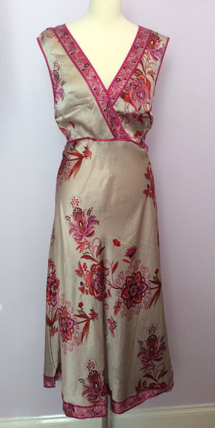 Monsoon Silver Grey & Pink Floral Print Silk Dress Size 20 - Whispers Dress Agency - Sold - 1