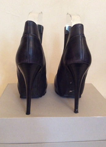 Bronx Black Leather High Heeled Ankle Boots Size 3.5/36 - Whispers Dress Agency - Womens Boots - 3