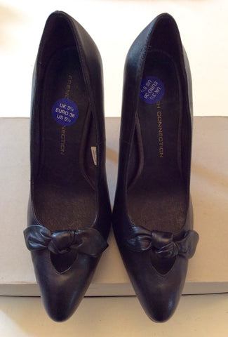 BRAND NEW FRENCH CONNECTION BLACK LEATHER HEELS SIZE 3.5/36 - Whispers Dress Agency - Womens Heels - 2