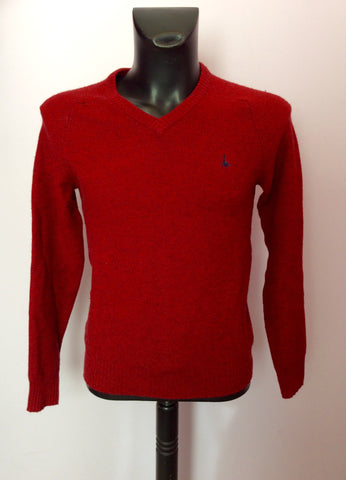 JACK WILLS DARK RED MERINO WOOL & COTTON V NECK JUMPER SIZE XS - Whispers Dress Agency - Mens Knitwear - 1