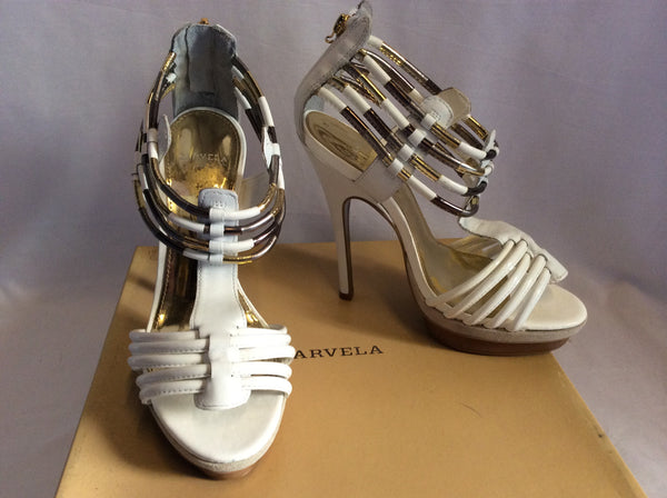 Brand New Carvela Ghostly White Leather Heeled Sandals Size 6/39 - Whispers Dress Agency - Womens Sandals - 1