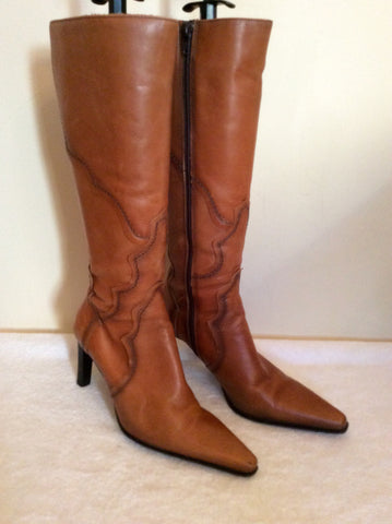 Bertie Tan Leather Slim Leg Boots Size 3.5/36 - Whispers Dress Agency - Womens Boots - 1
