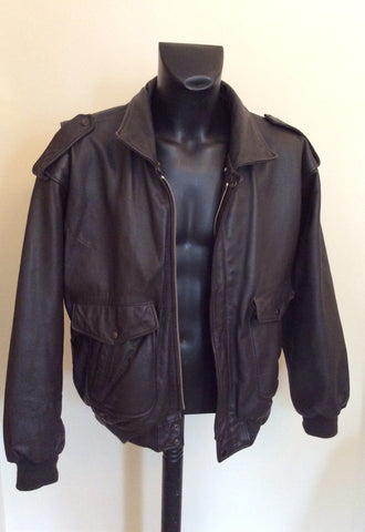 "The Pilot Dark Brown Leather Pilot Jacket Size 54 UK 44"" - Whispers Dress Agency - Mens Coats & Jackets - 2"