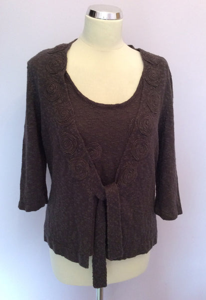 Minuet Brown Linen & Cotton Blend Knit Top & Cardigan Size 14 - Whispers Dress Agency - Womens Knitwear - 1