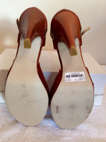 Brand New Emilio Lucax Tan Brown Leather Peeptoe Sandals Size 7/40 - Whispers Dress Agency - Womens Sandals - 5