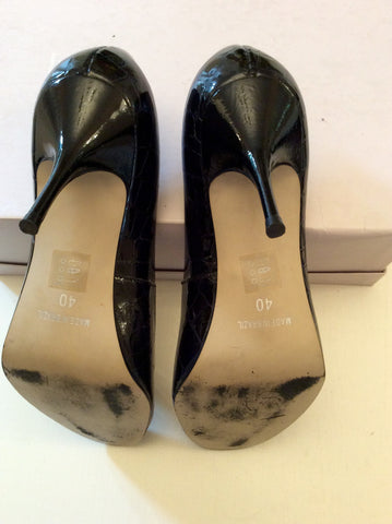 BERTIE BLACK CROC PATENT LEATHER HEELS SIZE 7/40 - Whispers Dress Agency - Womens Heels - 4