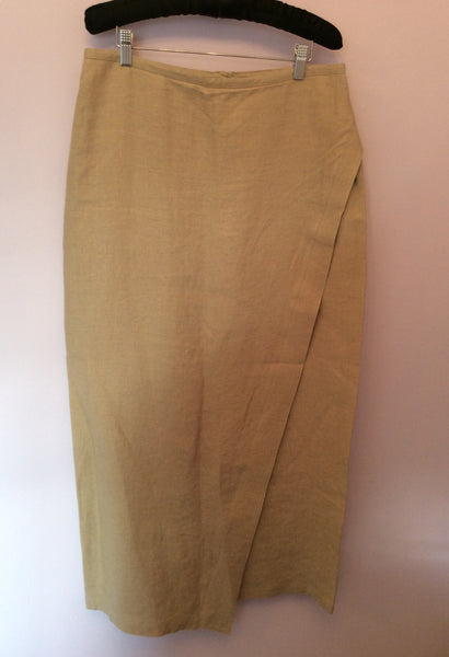 Joyce Ridings Beige Linen Long Wrap Across Skirt Size 14 - Whispers Dress Agency - Womens Skirts - 1