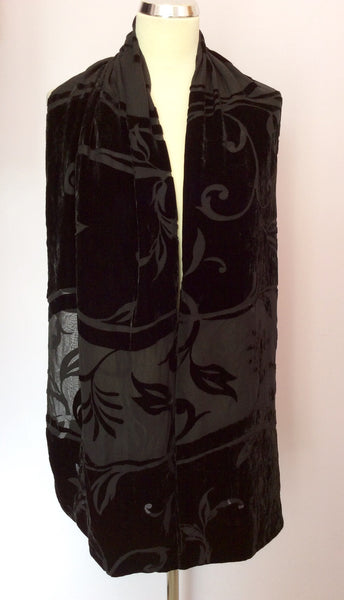Black Silk & Velvet Floral Design Evening Scarf/Wrap - Whispers Dress Agency - Womens Scarves & Wraps - 1
