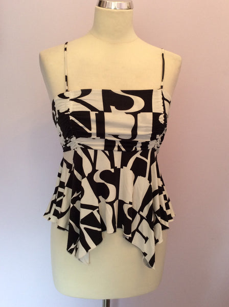 Armani Jeans Black & White Print Strappy Top Size 10 - Whispers Dress Agency - Womens T-Shirts & Vests - 1
