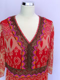 Brand New Savoir Red Print Bead & Sequin Trim Dress Size 18 - Whispers Dress Agency - Womens Dresses - 2