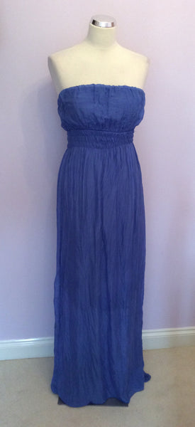 Brand New Prontamoda Guisy Blue Silk Strapless Maxi Dress Size L - Whispers Dress Agency - Sold - 1