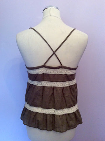 JOSEPH KHAKI & IVORY LACE TRIM STRAPPY CAMISOLE TOP SIZE 38 UK 10 - Whispers Dress Agency - Womens Tops - 2