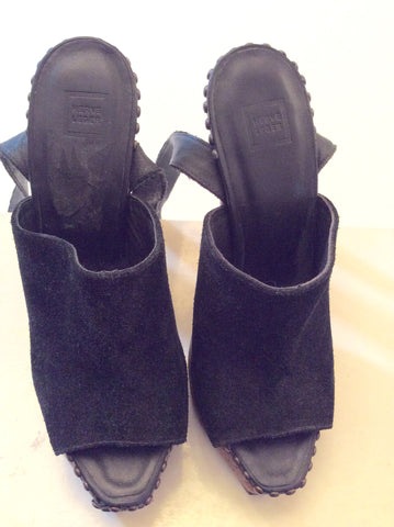 Brand New Herve Leger Black Suede & Cork Sandals Size 3.5/36 - Whispers Dress Agency - Womens Sandals - 7