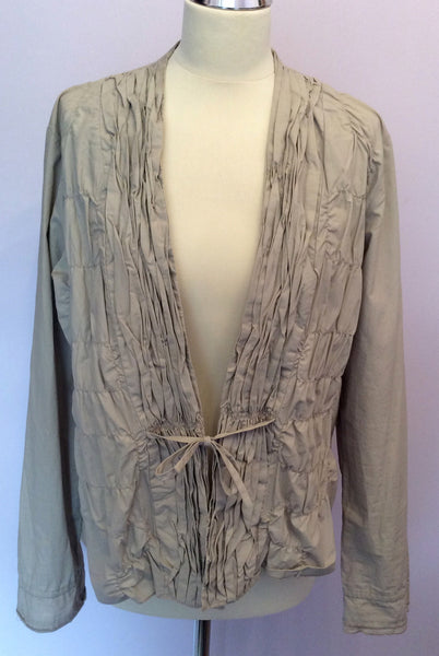 Sandwich Beige Pleated Front Cotton Jacket Size 42 UK 14 - Whispers Dress Agency - Womens Coats & Jackets - 1
