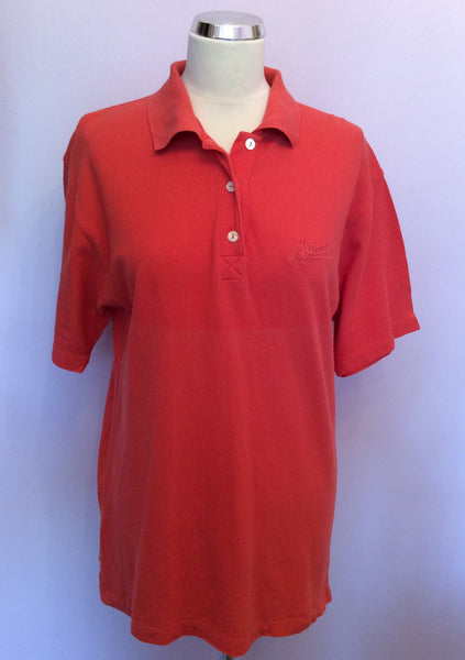 Vintage Jaeger Coral Orange Cotton Polo Shirt Size S - Whispers Dress Agency - Womens Vintage - 1