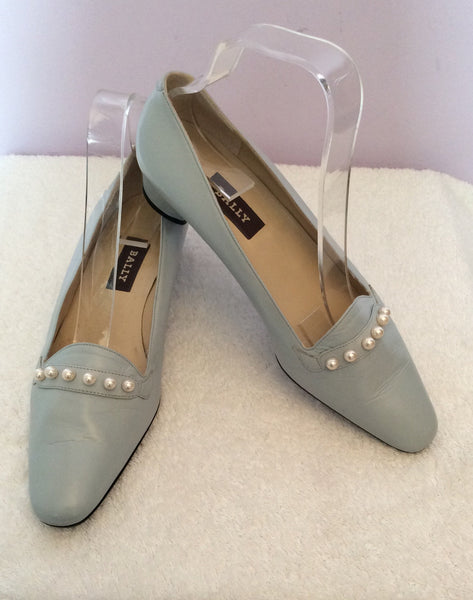 Brand New Bally Pale Blue & Pearl Trim Court Shoes Size 4/37 - Whispers Dress Agency - Sold - 1