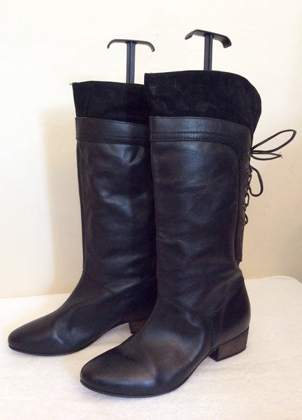 Faith Black Leather Lace Up Back Boots Size 8/42 - Whispers Dress Agency - Sold - 1