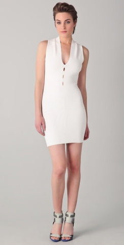 Brand New Alexander Wang White Cut Out Bodycon Dress Size L - Whispers Dress Agency - Womens Dresses - 1