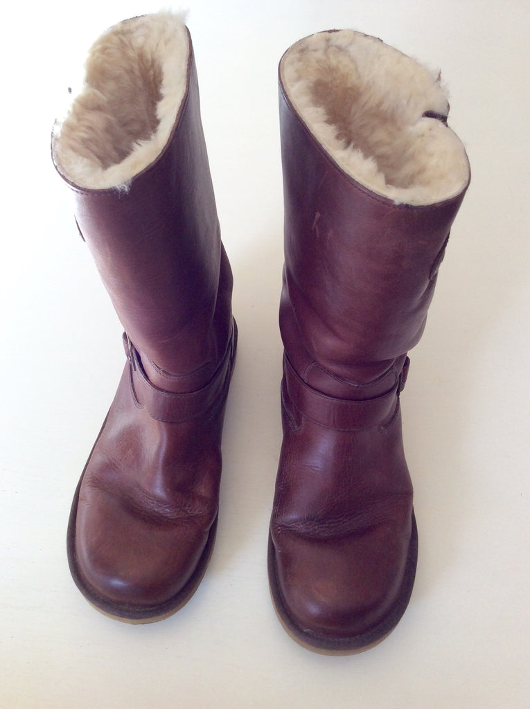 Ugg Kensington Brown Leather Boots Size 7.5/41 - Whispers Dress Agency - Sold -