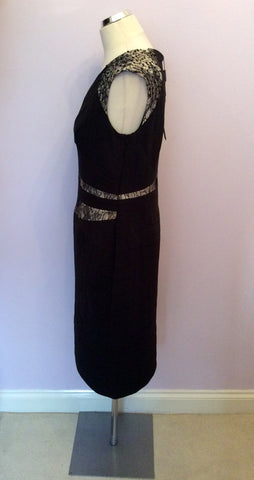 Brand New Alexon Black & Pale Gold Lace Trim Occasion Dress Size 14 - Whispers Dress Agency - Womens Dresses - 3