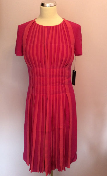 Brand New Marccain Pink & Coral Pleated Dress Size N3 UK 10/12 - Whispers Dress Agency - Womens Dresses - 1