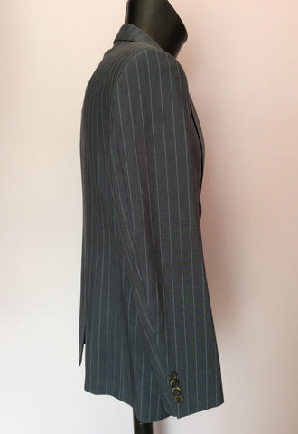 Hugo Boss Grey Pinstripe Wool Suit Size 38R /36W - Whispers Dress Agency - Mens Suits & Tailoring - 3
