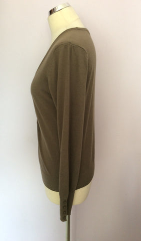 BETTY BARCLAY KHAKI GREEN V NECK CARDIGAN SIZE S - Whispers Dress Agency - Womens Knitwear - 2