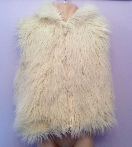 Monsoon Winter White Faux Fur Gilet Age 8-10 Yrs - Whispers Dress Agency - Girls Coats & Jackets - 1