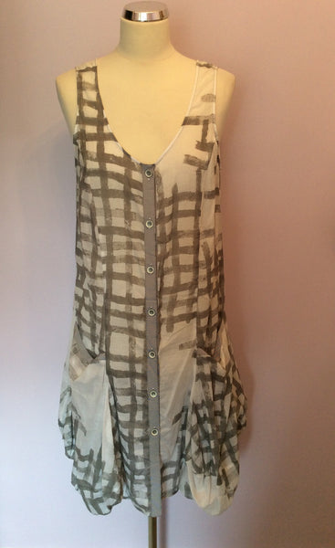 Crea Concept Grey & White Print Cotton Dress Size 42 UK 14 - Whispers Dress Agency - Sold - 1