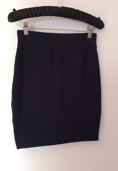 Vintage United Colours Of Benetton Dark Blue Knit Cotton Skirt Size M - Whispers Dress Agency - Sold