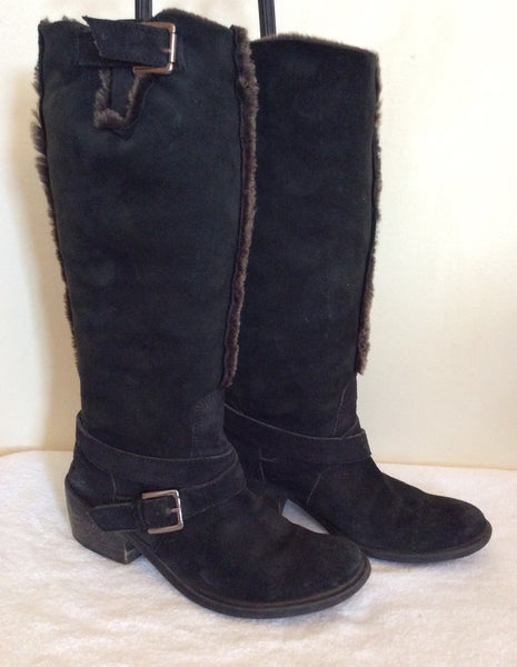 Bronx Black Suede Faux Fur Lined Boots Size 5/38 - Whispers Dress Agency - Sold - 1